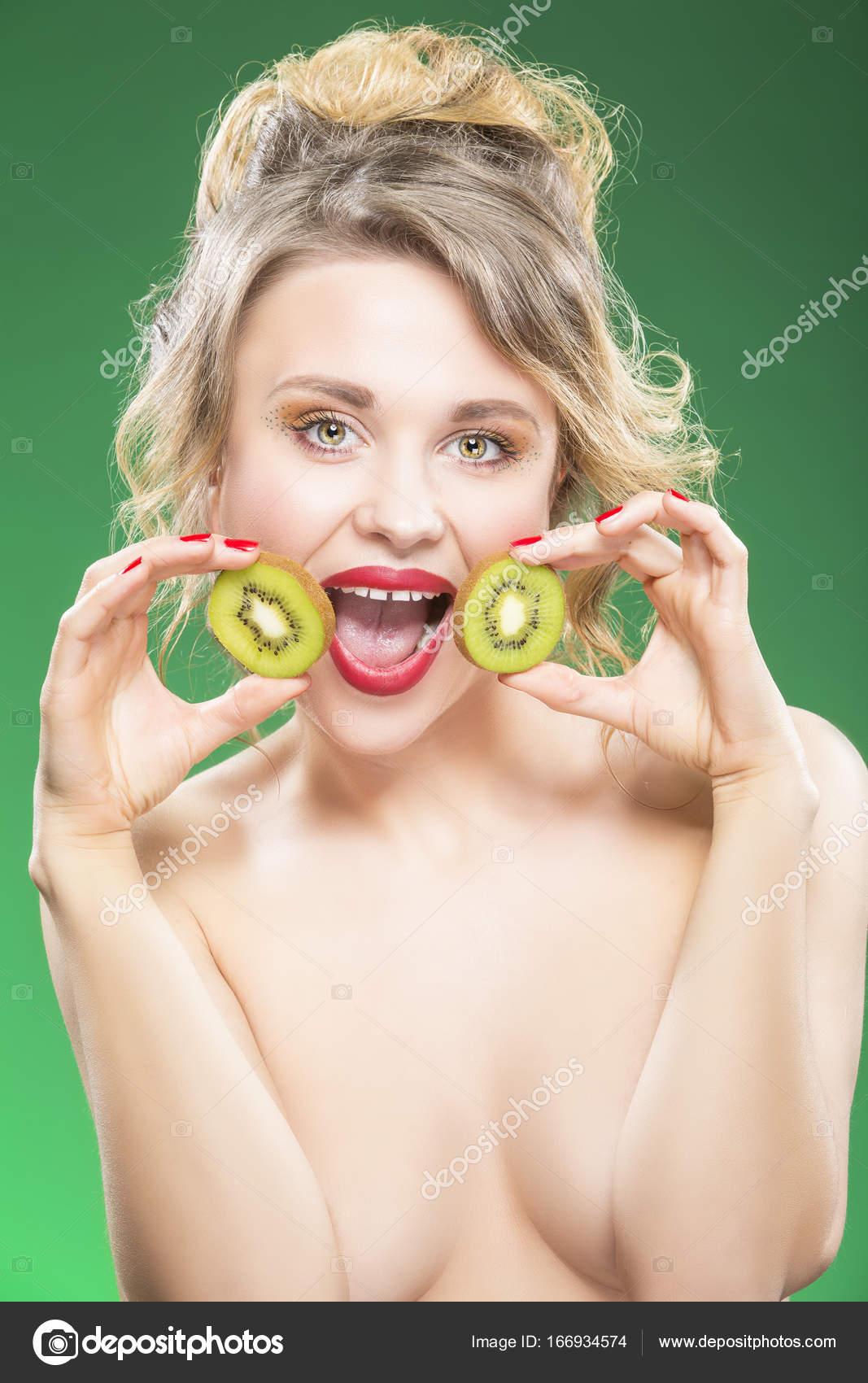 Girls having fun with fruit naked what