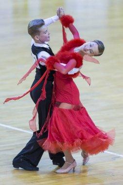 Dance Couple Perform Juvenile-1 Standard European Program