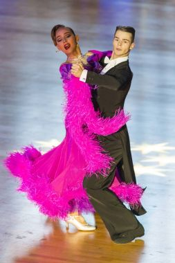 Professional Dance Couple Perform Youth Standard European Program on the WDSF International WR Dance Cup