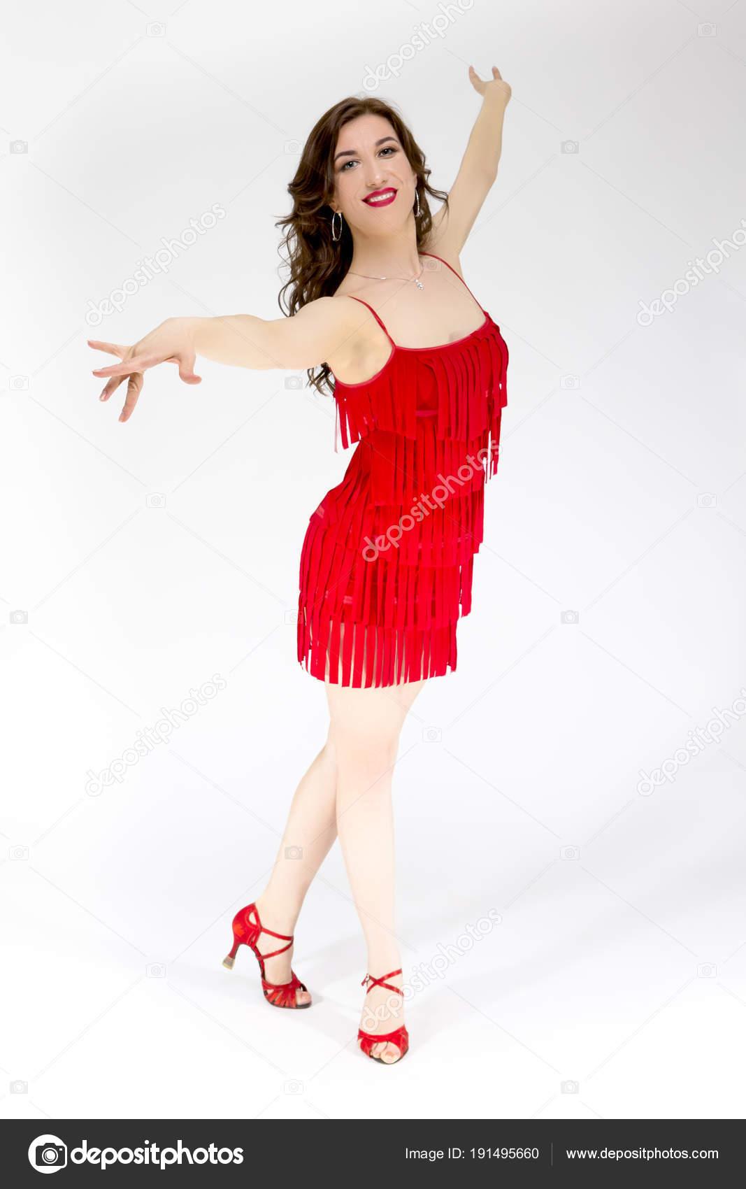 Ballroom In Rot Tänzer Weibliche Fließt Lateinamerikanischen Kleid IgyvYb6f7m