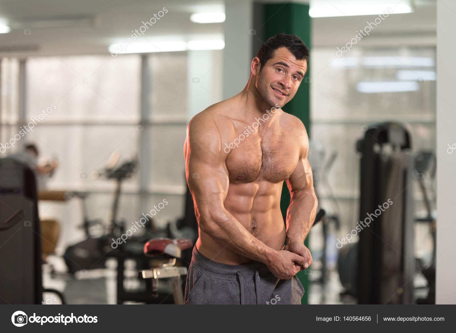 Hairy men flexing