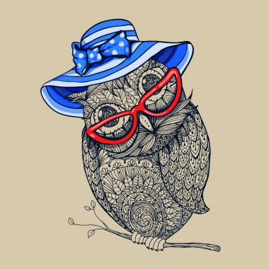 owl in summer blue stripped hat