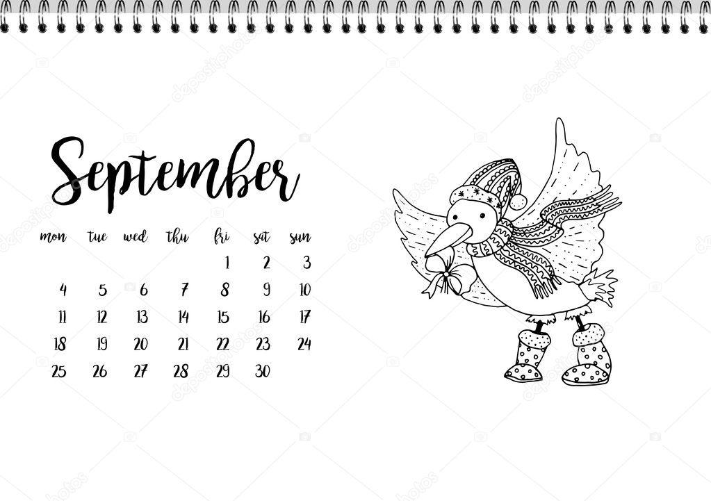 Kalender 2017 für Monat September — Stockvektor © ilonitta #126791278