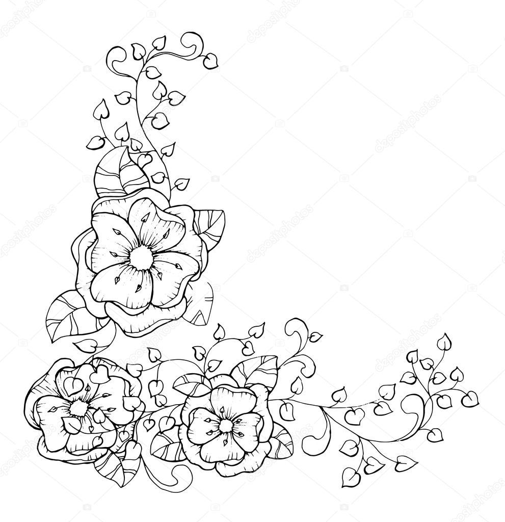 Marco Flores ornamental — Vector de stock © ilonitta #126791432