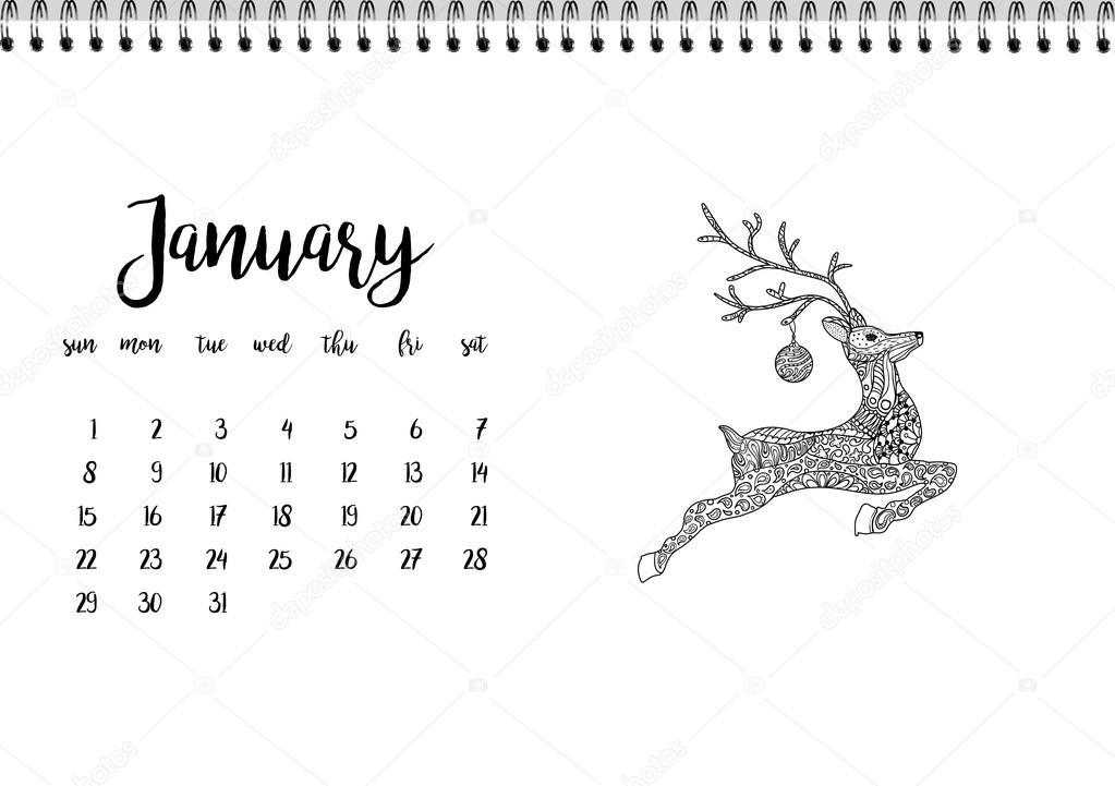 Calendario Mese Gennaio 2017 Vettoriali Stock Ilonitta