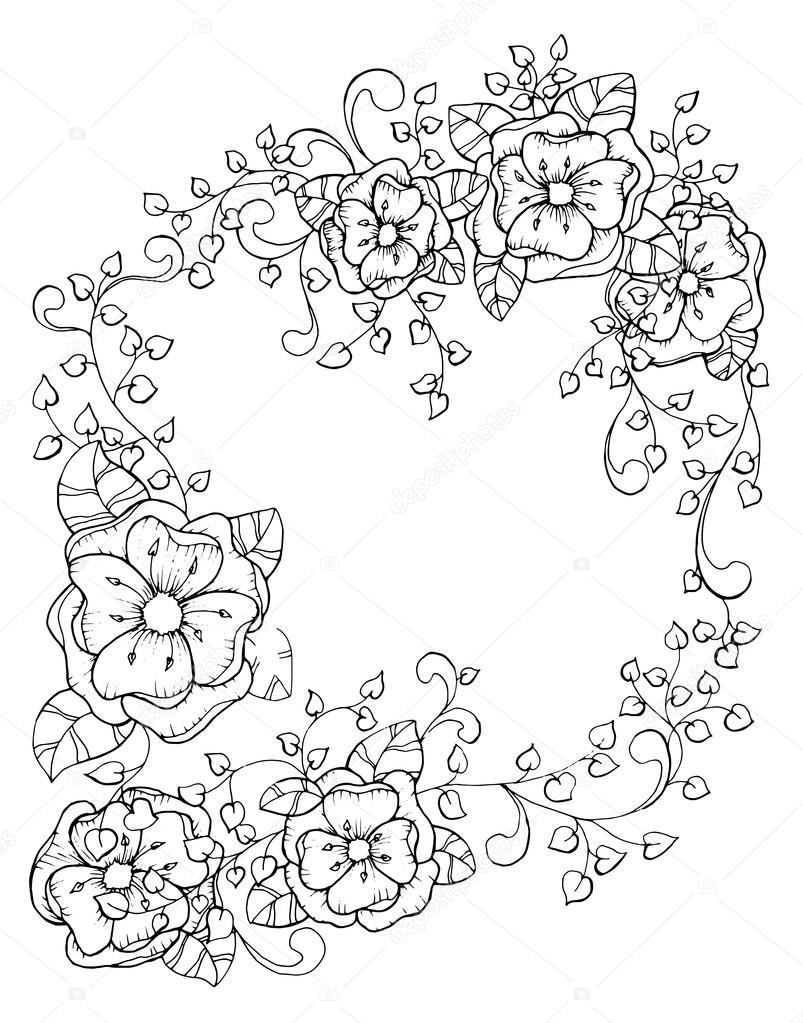 Marco Flores ornamental — Vector de stock © ilonitta #126791704