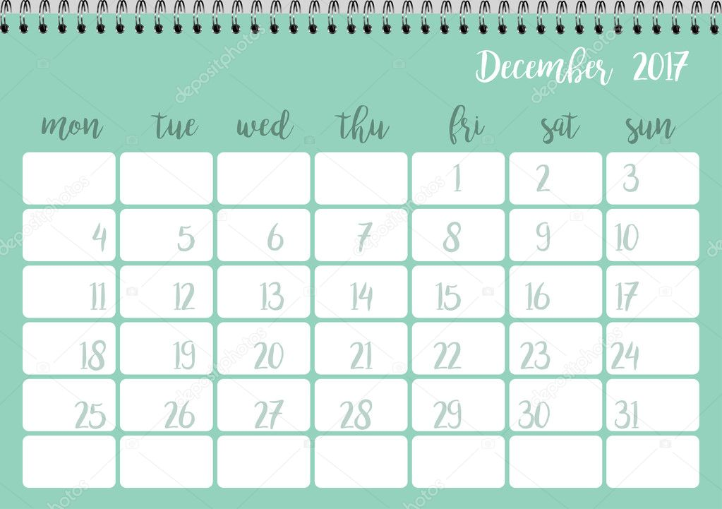 Calendrier 2017 Pour Le Mois De Decembre Image Vectorielle