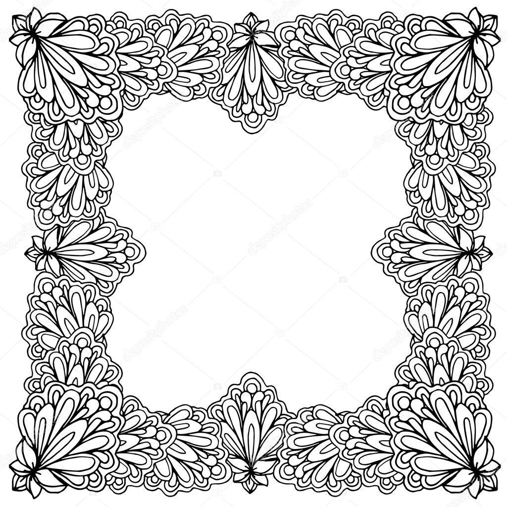 Marco Flores ornamental — Vector de stock © ilonitta #126792552