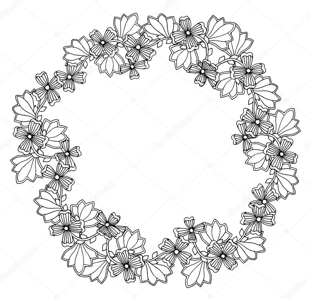 Marco Flores ornamental — Vector de stock © ilonitta #126792628