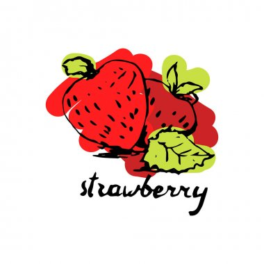 hand drawn beautiful strawberry