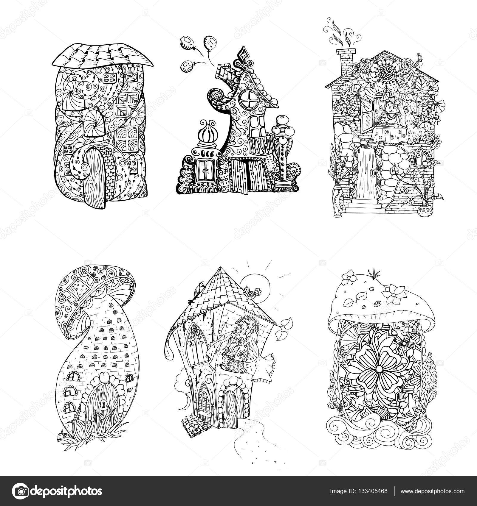 Fee Häuser mit ornament — Stockvektor © ilonitta #133405468