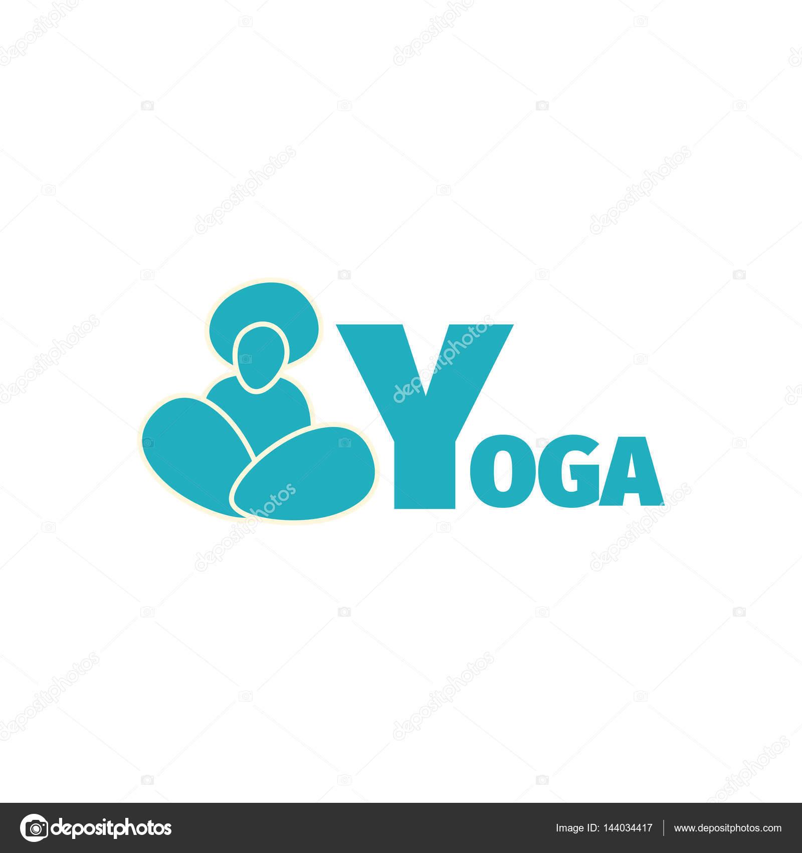 f698f7781 Modelo de design de logotipo azul ioga esporte clube com a silhueta do  homem e grande letra Y — Vetor de ilonitta