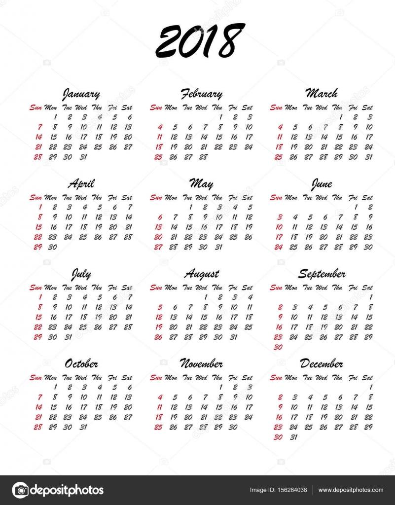 2018 Kalenderjahr — Stockvektor © ilonitta #156284038