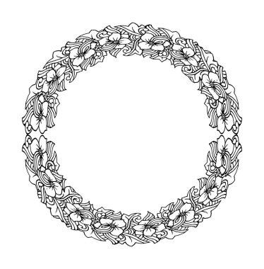 Ethnic floral decorative round element