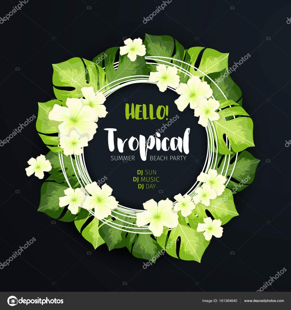 Tropical beach party circle banner stock vector ilonitta 161364640 tropical beach party circle banner on the dark background floral f with green leaves and white flowers realistic vector creative illustration for summer izmirmasajfo