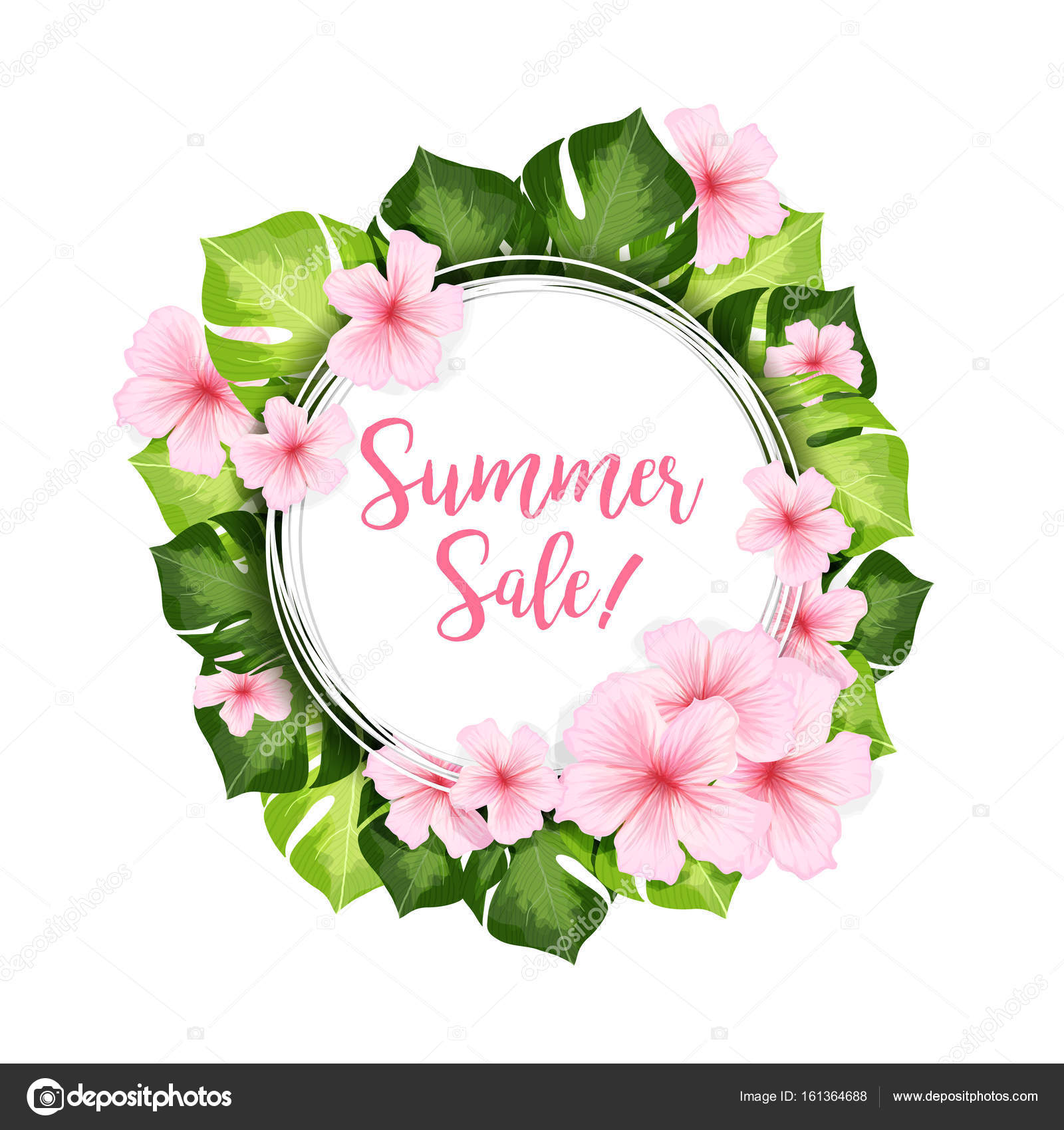 Summer Sale Circle Banner With Flowers Stock Vector Ilonitta
