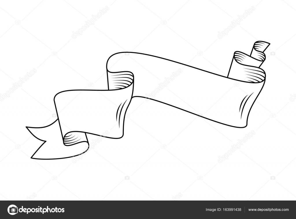 Line Art Ribbon : Scroll ribbon in outline u2014 stock vector © ilonitta #163991438
