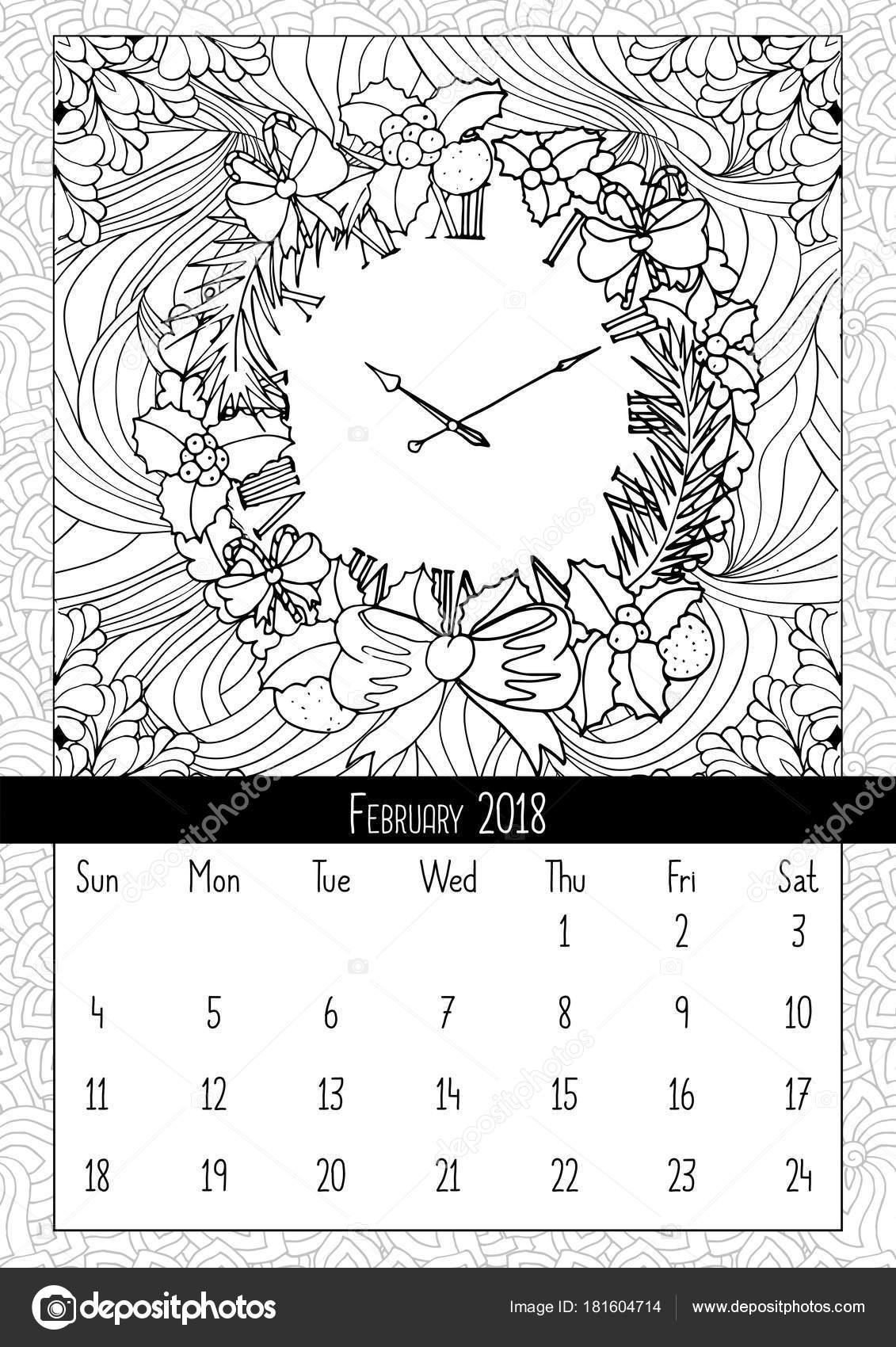 Reloj Guirnalda Navidad Calendario Página Libro Colorear Feliz ...