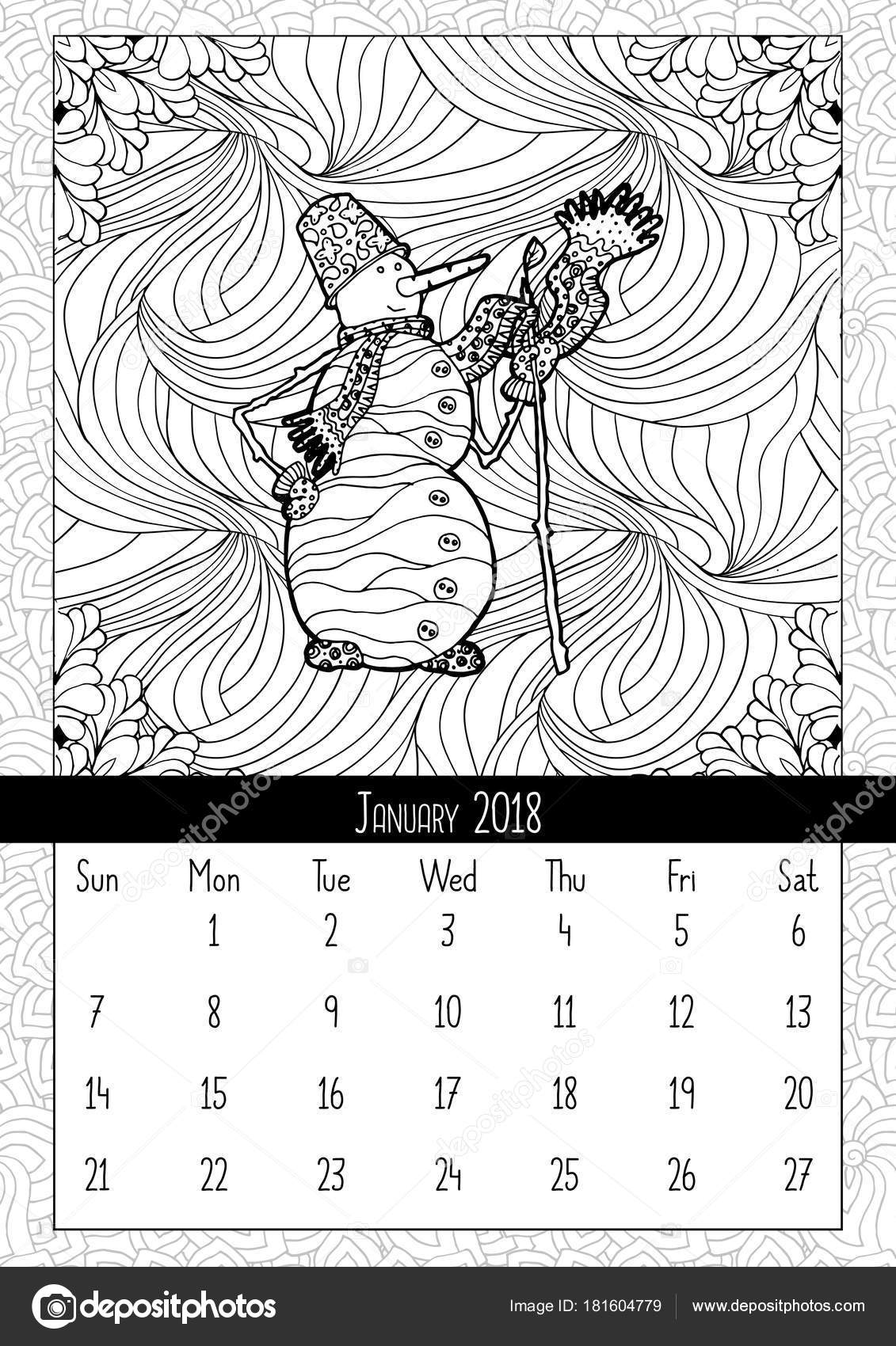 snowman doodle style calendar january 2018 coloring book poster