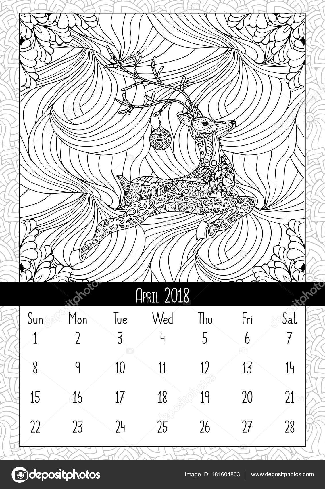 Weihnachten Hirsch Handgezeichneten Kalender April 2018 Jahr ...