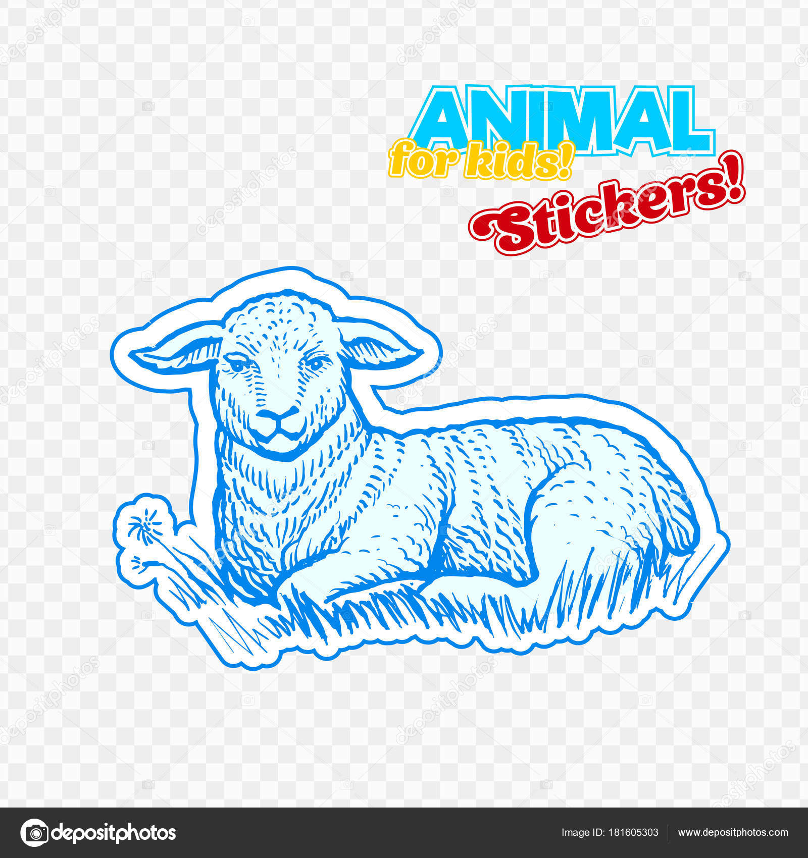 çiftlik Hayvan Kuzu Kroki Tarzı Renkli Etiket Saydam Arka Plan