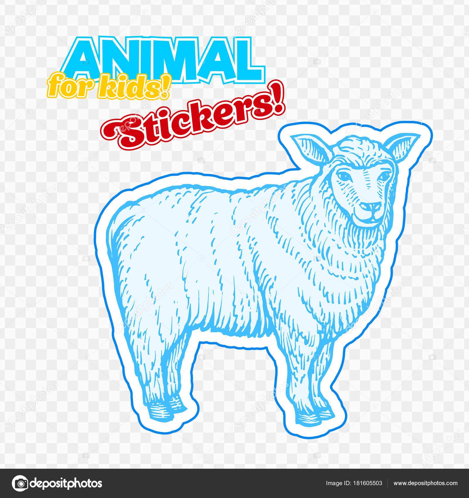 Bauernhof Tiere Schafe Stil Sketch Auf Bunte Aufkleber Auf ...