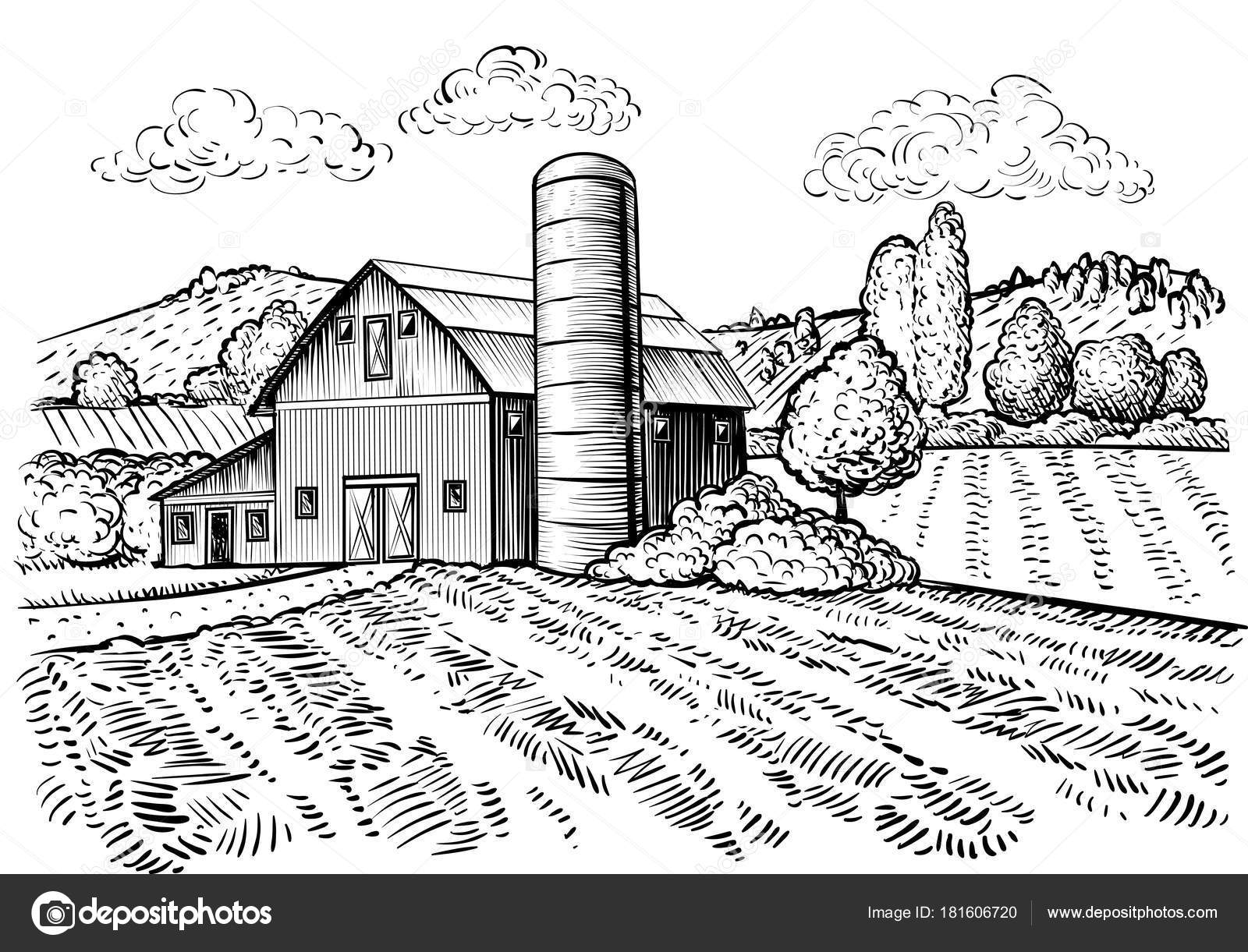 Rural Landscape Farm Barn Windmill Sketch Hand Draw ...