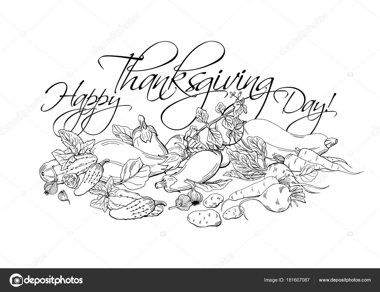 Feliz Día Acción Gracias Cartel Horizontal Con Diferentes Verduras ...