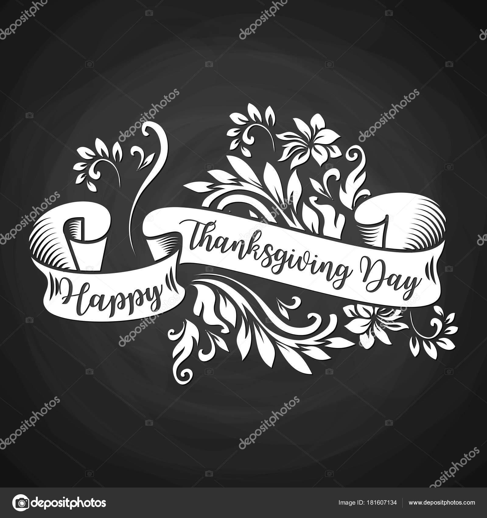 Black Chalk Board White Ribbon Happy Thanksgiving Day Inscription Poster Stock Vector