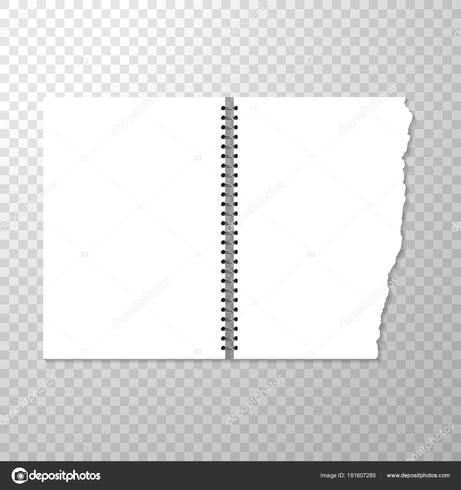 opened notebook template blank page torn piece paper spiral bound