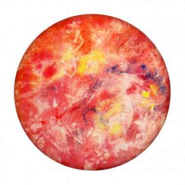 Watercolor Planet Mercury isolated on white background