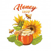 Ekologický med shop plochý banner vektorové šablony. Přírodní produkt, včelí vosk prodej podnikání. Včelařství, včelařský kreslený plakát. Hrnec s rozprašovačem, včelami a slunečnicemi s nápisem