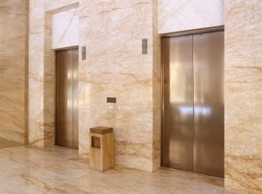 Modern elevator in a commercial building