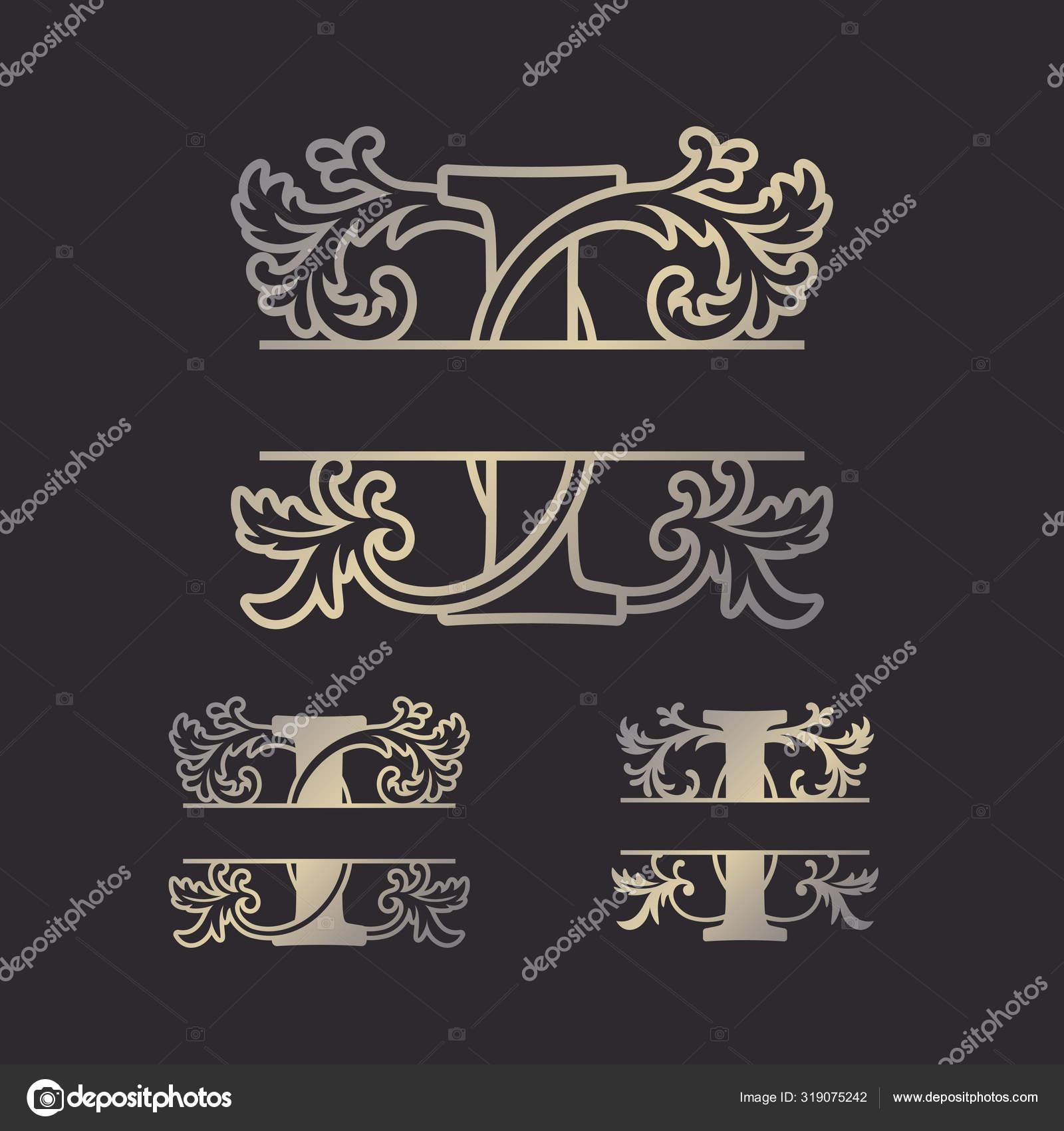 Alphabet Split Monograms Split Letter Monogram Alphabet Frame Font Laser Stock Vector C Zhaklin 319075242