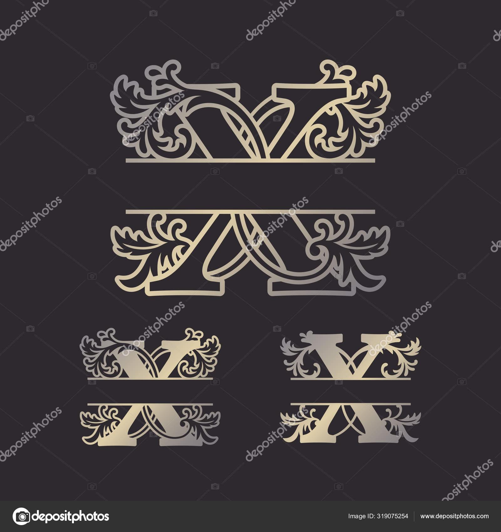 Alphabet Split Monograms Split Letter Monogram Alphabet Frame Font Laser Stock Vector C Zhaklin 319075254