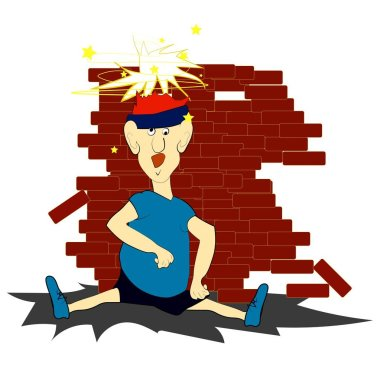 a brick on the head, a brick runner falling on his head