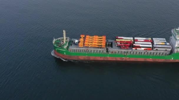 Vladivostok, Oroszország - December 01, 2019: Top view of the cargo ship Sincerenice 1 loaded with vehicles.