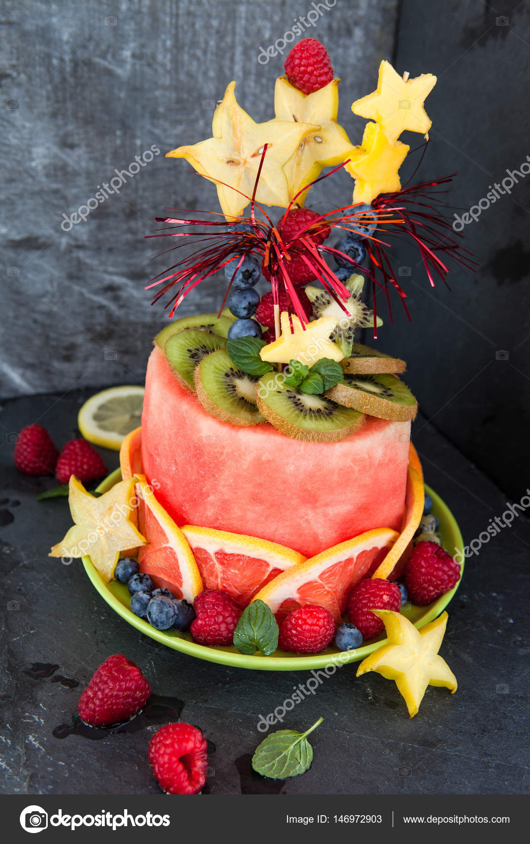 Colorful Cake Made From Fresh Fruits With Party Decorations Photo By
