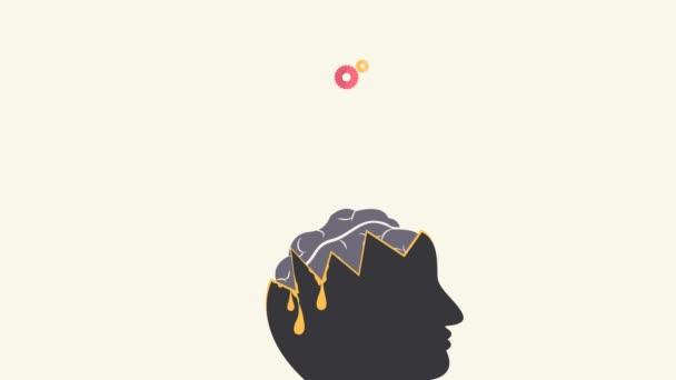 Zeichentrickanimation Design von Wissen, Kreativität und intellektueller Bildung Symbole fließen aus einem Mann Kopf Gehirn mit Infografik Text in 4k ultra hd video