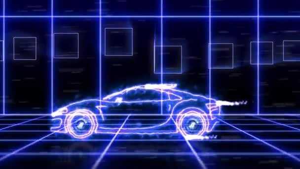 Abstraktní animace modré futuristické super auto s wireframy paprsek světla na scéně pozadí futuristické město. Automobilový auto a aerodynamické auto motion design engineering, technologie