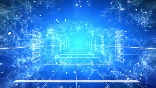 Loop plynulé animace pohybu fotoaparátu nebo zoom v cestě futuristické fantasy s digitální počítač znamení a symbolů a elektronických obvodů v mrazivých ledové atmosféře v rozlišení 4k ultra Hd
