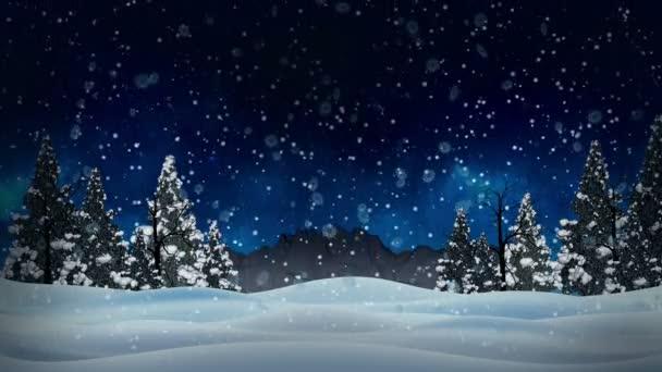 Animation Sans Faille Blanc Neigeuse Et Neige Paysage D Hiver Avec Sec Et Arbres De Noel Et De Montagne Historique Et De Flocons De Neige Tombant La Neige Concept Bleu Ciel Neigeux En 4k