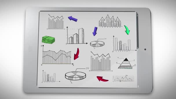 Animation of business, marketing and financial colorful statistic doodle graph chart and diagram on smart phone tablet screen used for background presentation title
