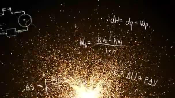 Abstrakte glühenden Feuer, Asche Funkenbildung und fliegenden Hintergrundmuster mit Thermodynamik Formel und mathematische Gleichung in Doodle für Physik und Technik Ausbildung Einführung in 4k ultra Hd