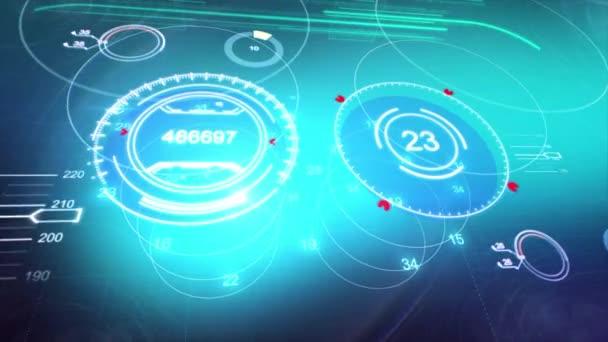 abstrakte Bewegung Radar oder Sensor Interface 3D-Bildschirm mit Zahlen, Skala und Licht auf Computer Bildschirm Muster in 4k ultra Hd
