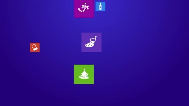 trendige Weihnachts- und Feiertagsfest Computer oder mobile Anwendung App-Programm mit Geschenk-und Event-Ornament-Symbol in bunten geometrischen quadratischen Block-Fenster Hintergrund, erstellen durch Vektor