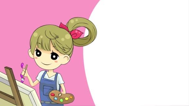 Rajzfilm animációs háttér egy lány művész festés akvarell artwork kefével és palettát képviselő kreatív művészeti oktatás az iskolában vagy a website-ban 4k színes absztrakt hatállyal ultra Hd