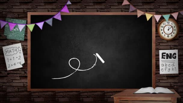 Animation of creative school blackboard background. School blackboard with classroom interior design. With stationary and education decoration board. In school and creative education concept in 4k hd.
