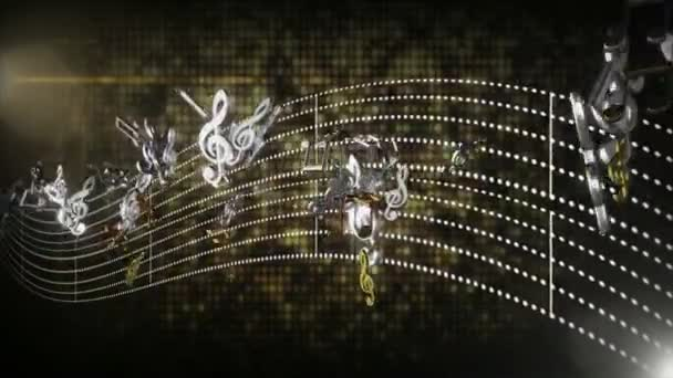 3d seamless music notes flowing with abstract line tune on black ...