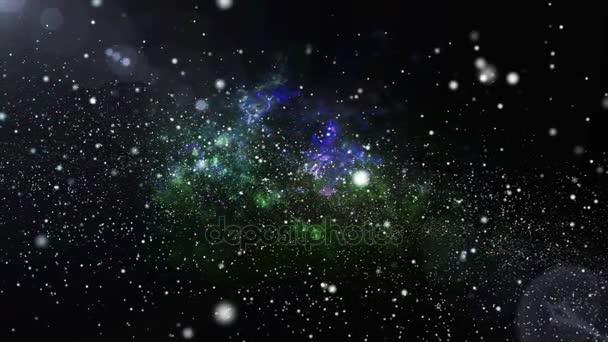 3D animace barvy měnící, galaxie a mlhoviny s zářící hvězda světle stardust. Barevné galaxie plovoucí s stardust v prostoru vesmíru concept v rozlišení 4k